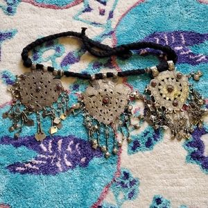 Vintage Free People Silver Glass Dance Belt Coin